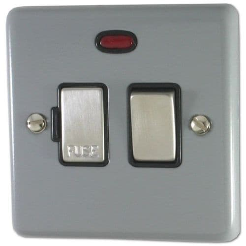 G&H CLG327 Standard Plate Light Grey 1 Gang Fused Spur 13A Switched & Neon